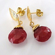 Genuine Ruby Earrings - 10 Carats of Large Faceted Ruby Drop Earrings - Vermeil Leaf Ear Posts