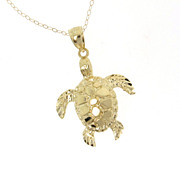 14K Solid Gold Turtle Necklace As Seen On Jules, Courtney Cox, Of Cougar Town