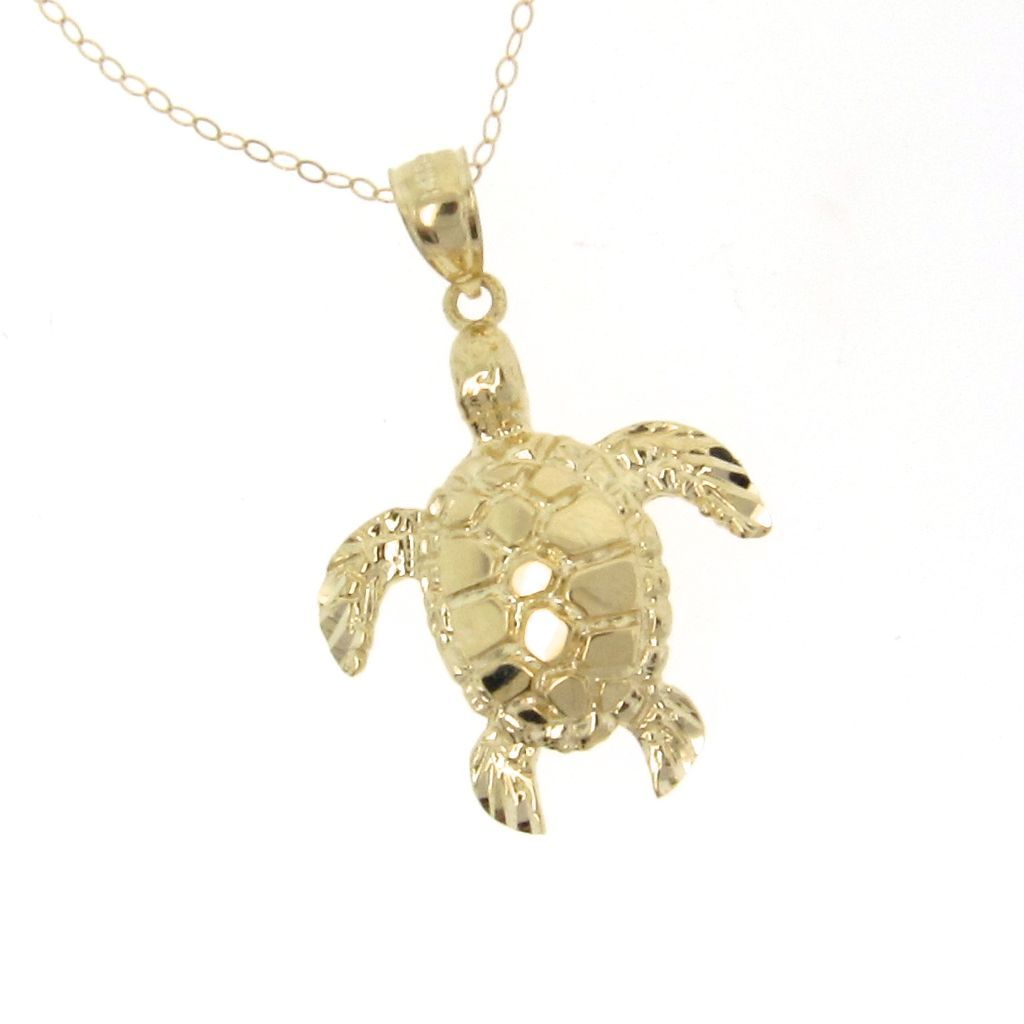 14k solid gold turtle necklace as seen on jules