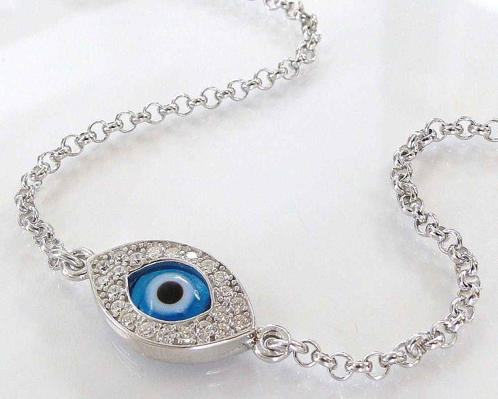 Protective Evil Eye Bracelet As Seen On Kim Kardashian And Kelly Ripa - NEW - Celebrity Style, Sterling Silver