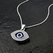 Lucky Evil Eye Necklace As Seen On Ashley Tisdale - Celebrity Style, Sterling Silver