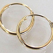 Tiny 14K Solid Gold Endless Hoops For All Ages
