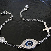 Lucky Evil Eye Cross And CZ Bracelet As Seen On Kim Kardashian And Kelly Ripa - Celebrity Styl