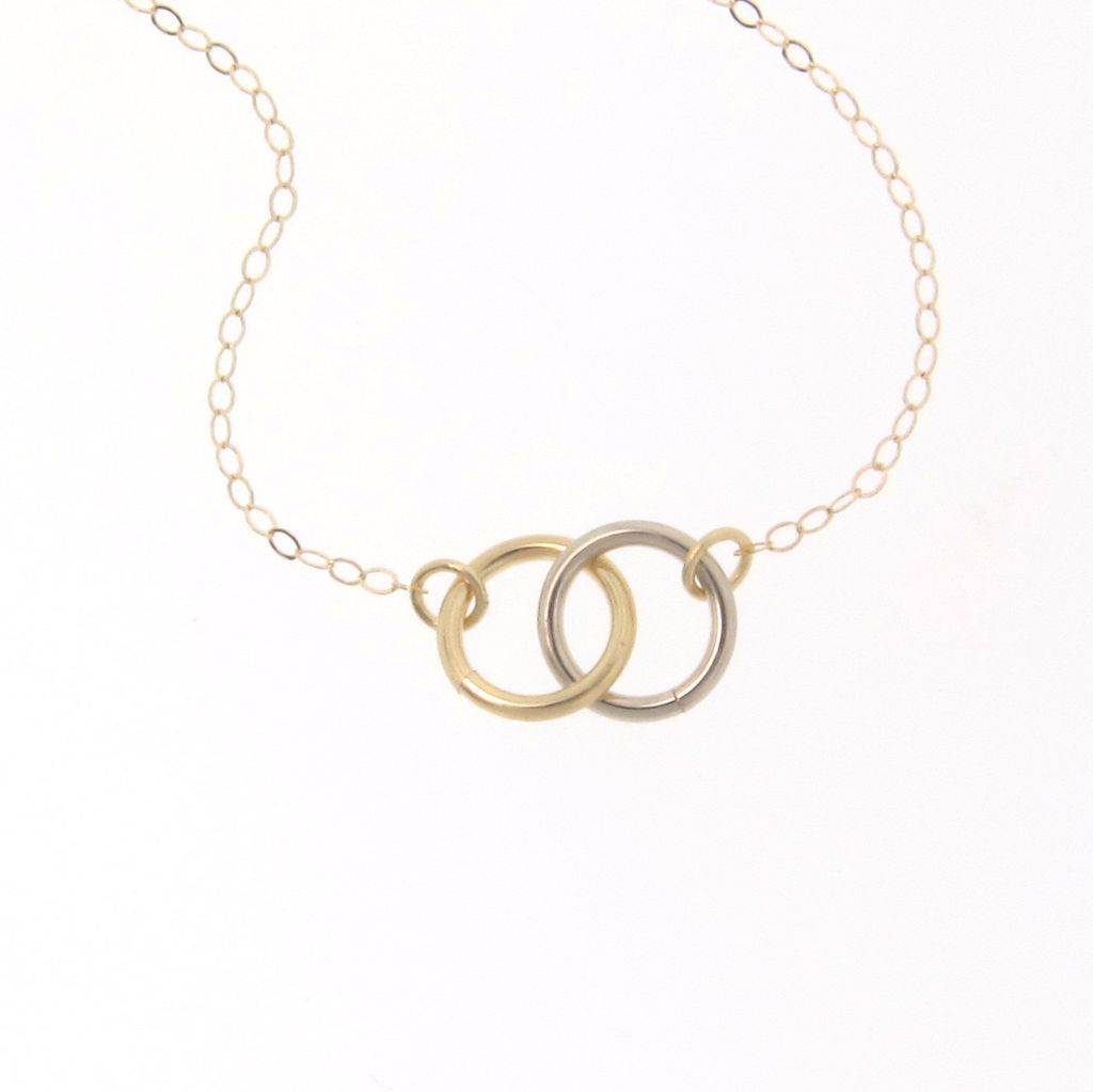 Tiny 14K Gold Interlocking Circles Necklace - 14K Yellow Gold - Tiffany & Co. Inspired