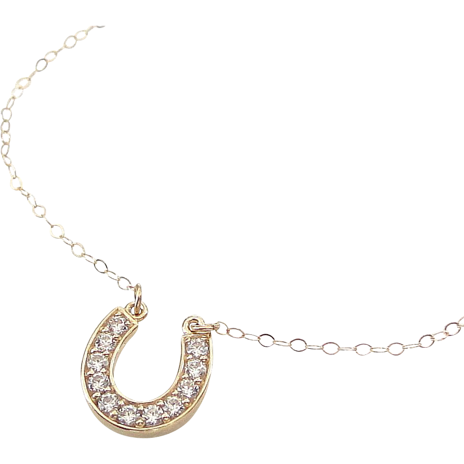 Lucky Horseshoe Necklace - 14K Solid Gold Cubic Zirconia, Celebrity Style
