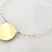 14K Solid Gold Disc Necklace - Yellow Gold or White Gold