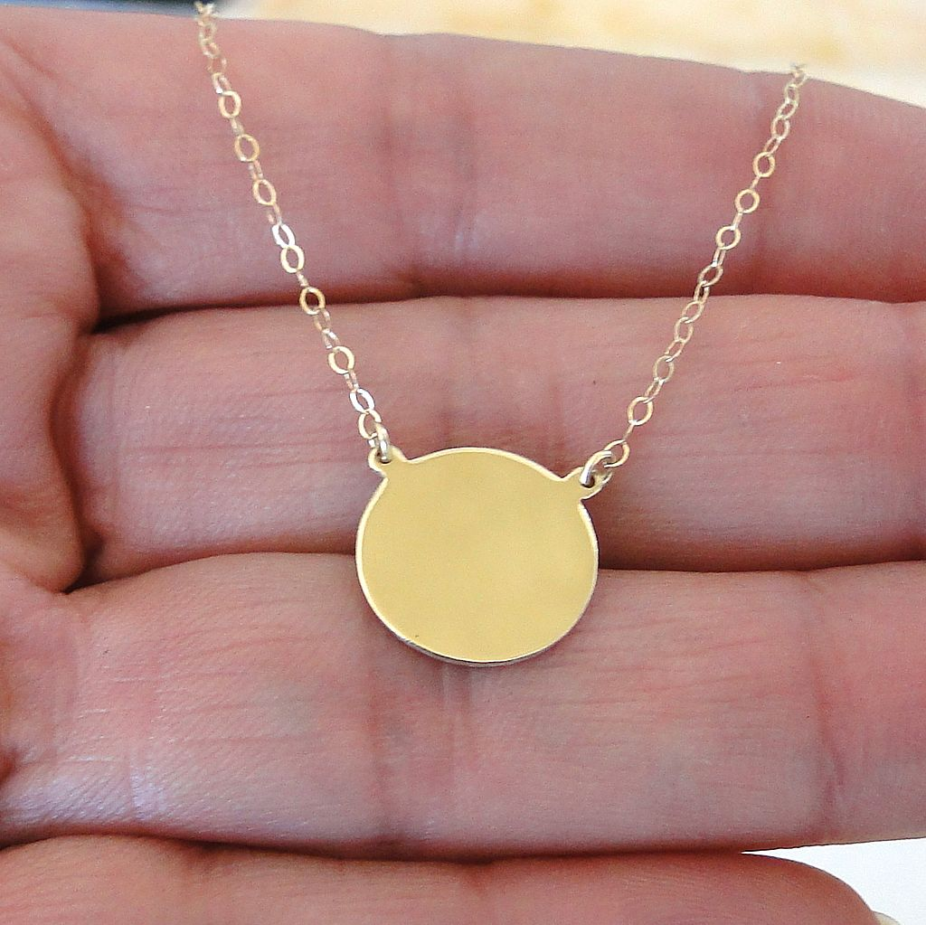 14k gold disc necklace yellow gold or white gold can. Black Bedroom Furniture Sets. Home Design Ideas