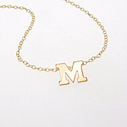 Your Initial Necklace - 14K SOLID GOLD Ultra Feminine Initial Monogram