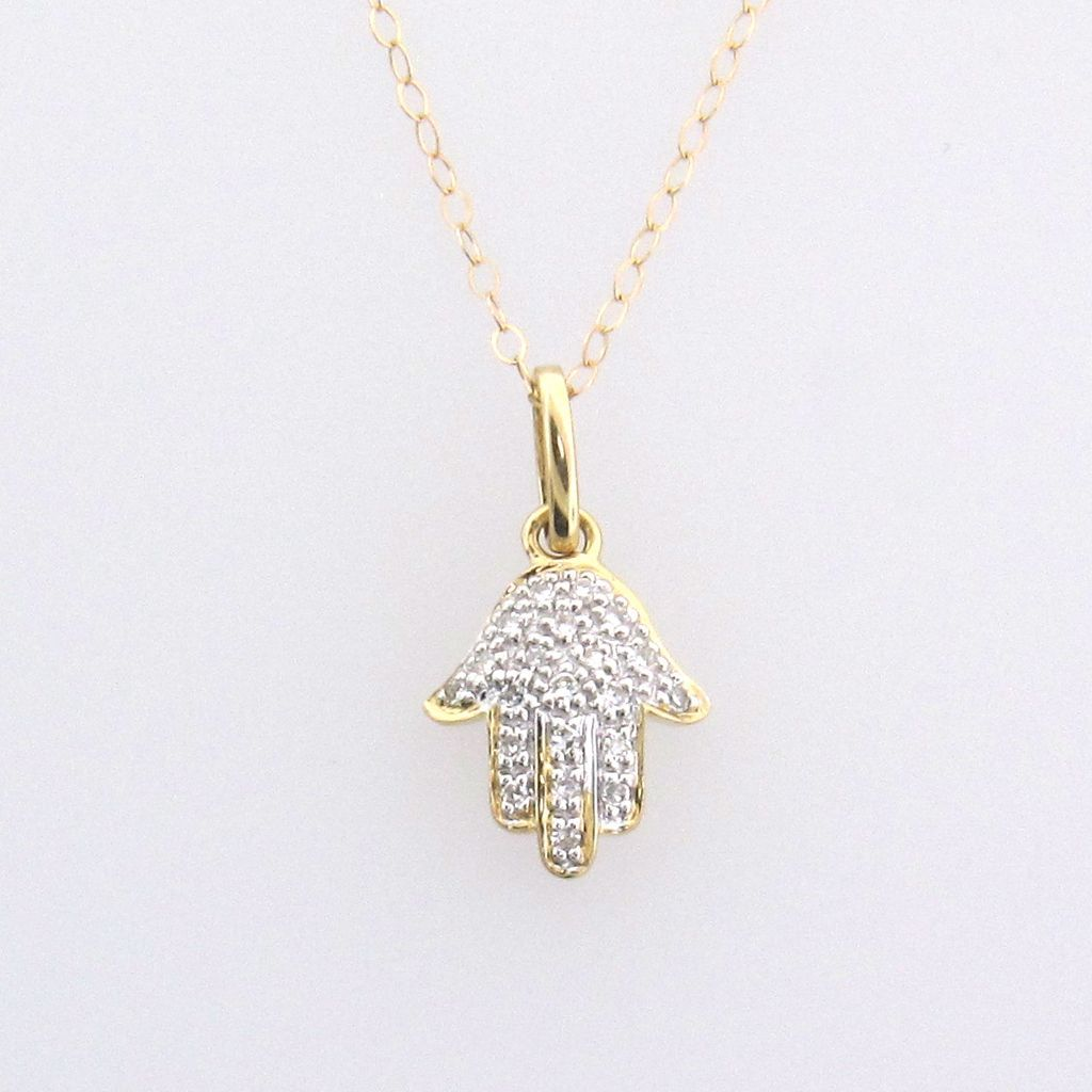 14K Solid Gold And Diamond Hamsa Hand Necklace For ...