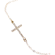 Small Diamond Sideways Cross Necklace 14K Gold Taylor Jacobson, Kelly Ripa Celebrity Jewelry