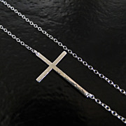 Sideways Cross Necklace- Hammered Sterling Silver, Off Center, Long And Sleek - As Seen On Kel