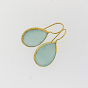 Aqua Chalcedony Drop Earrings on Gold Vermeil
