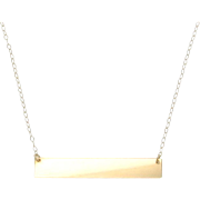 "14K Gold Name Plate Necklace, Yellow Gold 17 1/4"" Inches, As Seen on Kim Kardashian"