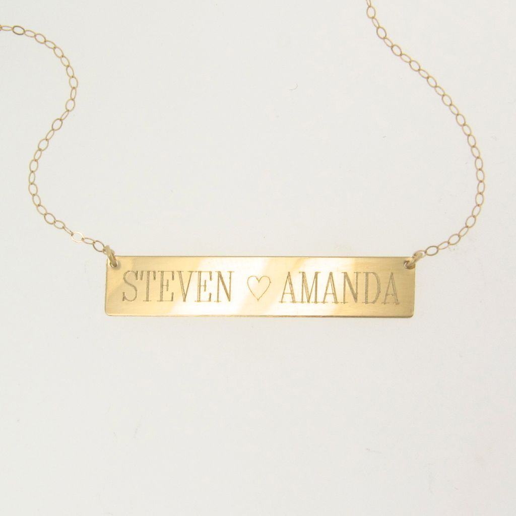 14k gold nameplate necklace yellow gold 17 1 4 quot inches