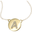 Katie Holmes DIAMOND Initial Necklace - Your initial In 14K Solid Gold And Genuine Diamonds