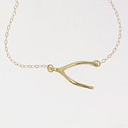 Sideways Wishbone Necklace - 14K, 10K Gold, 16 to 18 Inch Length