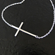 SOLD Kelly Ripa Sideways Cross Necklace - Sterling Silver, Small, Thin And Sleek