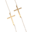 Kelly Ripa Sideways Cross Necklace, Hammered or Smooth, 14K Gold Filled, Small And Sleek