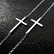 SALE PENDING Kelly Ripa Sideways Cross Necklace, Hammered or Smooth, Sterling Silver, Small An