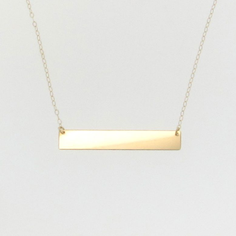 14k gold nameplate necklace yellow gold 17 1 4