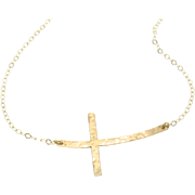 SOLD New - CURVED Sideways Cross Necklace, 14K Gold Filled, Long and Sleek Kelly Ripa Cross