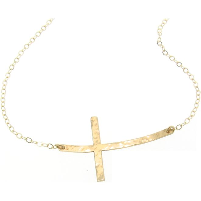 Curved sideways cross necklace 14k