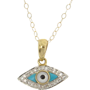 14K Gold And Diamond Evil Eye Necklace Set With Turquoise And Mother of Pearl