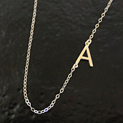 Sideways Initial Necklace - 14K SOLID GOLD, Your Initial, Asymmetrical Necklace As Seen on Aud