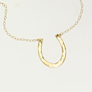 14K Gold Lucky Horseshoe Necklace - Hand Forged, Hammered - Celebrity Jewelry