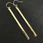 14K GOLD Bar Earrings - Hand Forged, Hammered 14K Yellow Gold