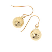 14K Solid Gold Small Ball Dangle Drop Earrings - 8mm Ball