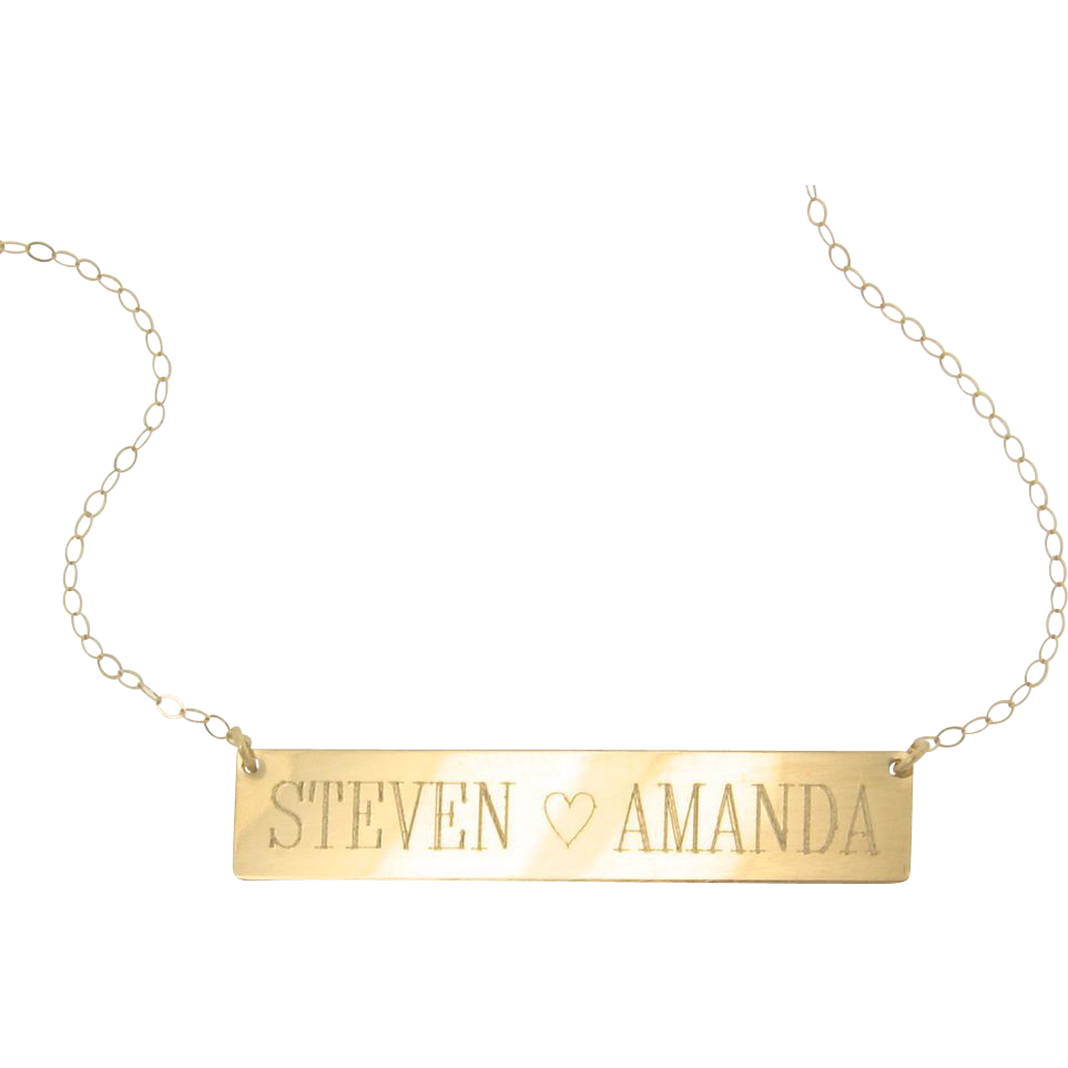 will engrave 14k gold nameplate necklace yellow or