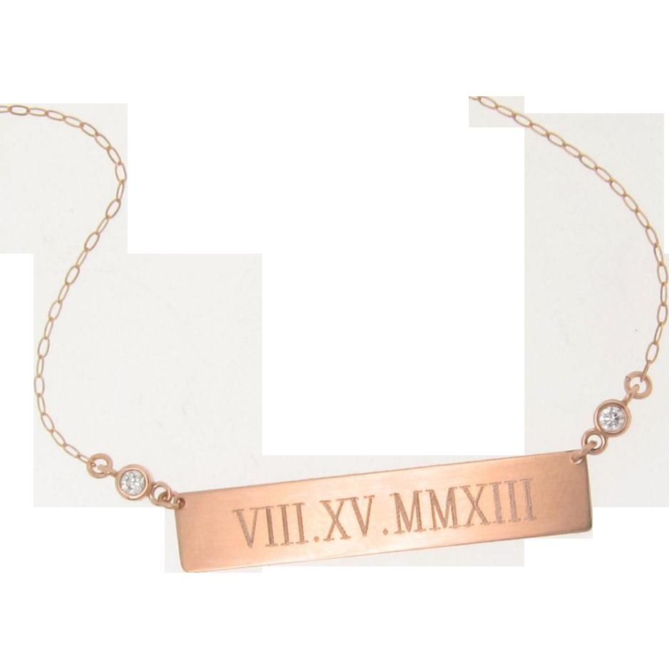 will engrave 14k rose gold diamond bar nameplate necklace. Black Bedroom Furniture Sets. Home Design Ideas
