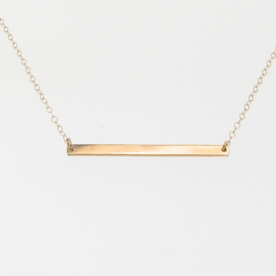 14k gold stick necklace thin horizontal bar necklace