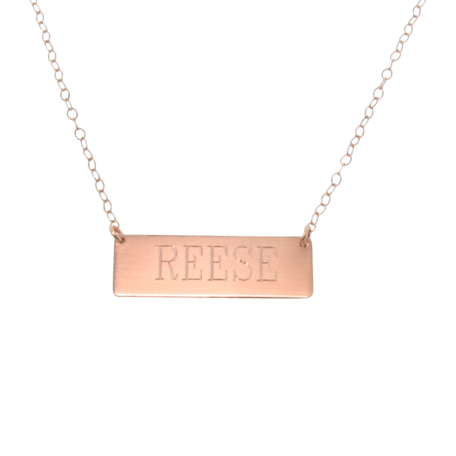 engravable 14k gold nameplate necklace yellow white or. Black Bedroom Furniture Sets. Home Design Ideas