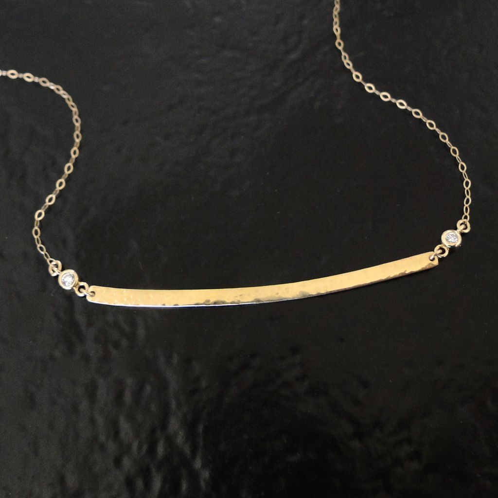 14K GOLD Curved Bar Stick Necklace With Diamonds As Seen On Kristin ...