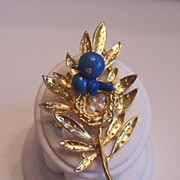 Trifari Blue Bird Trembler Pin