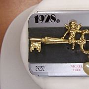 1928 Angel on Key Brooch New Old Stock
