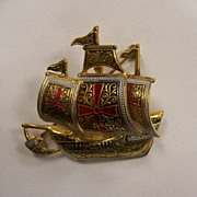 Damascene Spanish Galleon Brooch