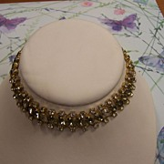 Hobe Necklace of Grey Topaz Rhinestones and Clear Rhinestones