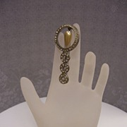 Art Deco Pin With Faux Pearl