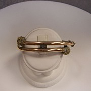 Victorian Rolled Gold Clamper bracelet with unusual closure