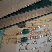 Artisan Earrings Vintage Haskell Spacers Adventurine Freshwater pearls
