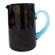 REDUCED Art Glass Pitcher Black Amethyst with Blue Handle