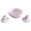 1950's Fenton Hobnail Rose Pastel 3 PC Console Set