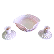 SALE 1950's Fenton Hobnail Rose Pastel 3 PC Console Set