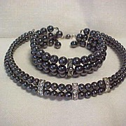 SALE Vintage Pearl Gray Choker and Bracelet Set