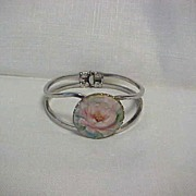 SALE Vintage Clamper Hinged Bracelet Hand Painted Pink Rose