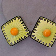 SALE Wild Retro 1960's Enameled Earrings