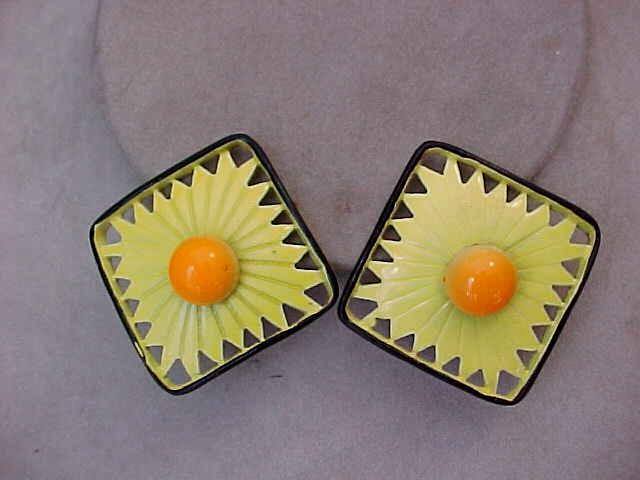 Wild Retro 1960's Enameled Earrings
